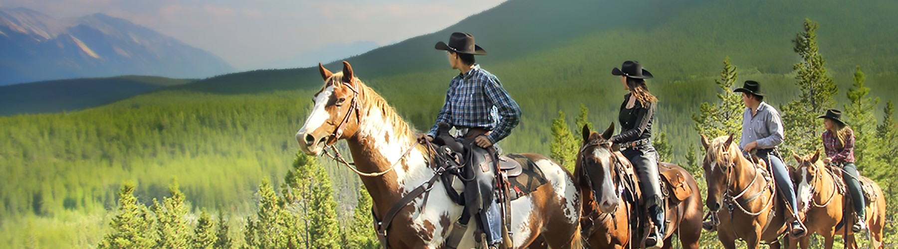 horseback riders enjoy a beautiful viewpoint